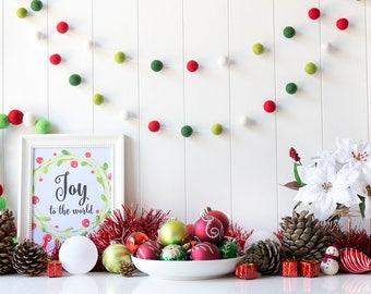 Red & Green Christmas Felt Ball Garland. Christmas Pom Pom Garland. Christmas Decoration. Mantel Decor. Christmas Garland. Dark Green. White