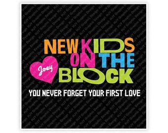 New Kids On The Block, Joey McIntyre, You Never Forget Your First Love, 80's, Illustration, TShirt Design, Cut File, svg, pdf, eps, png, dxf