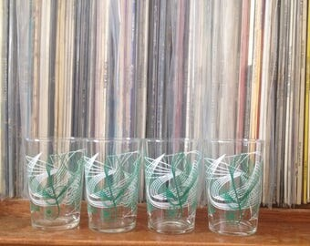 Retro Musical Glasses | Set of 4 | Drinking Glasses | Treble Clef | Green