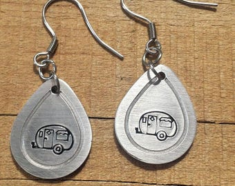 Camping Gift - Camper Earrings - Camper Gift - Gift for Campers - Camper Jewelry - Camping Jewelry - Stamped Jewelry - Metal Stamped Earring