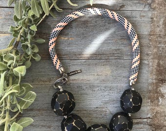 Black Maslina - Natural wooded beads on striped rope