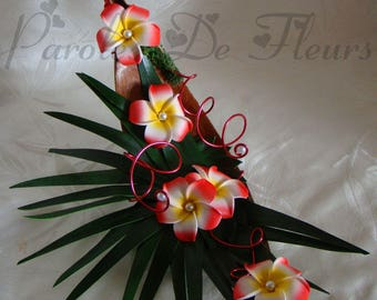 Coconut and frangipani flowers artificial customize boat ring holder