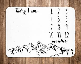 Mountain Monthly Baby Blanket - Boy Baby Blanket  - Monthly Photo Prop - Personalized Baby Shower Gift - Black - White