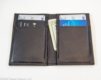 Black Horween Leather Wallet with Black Stitching, Minimal Wallet, Front Pocket Wallet, Slim Wallet,  Bill Fold Wallet