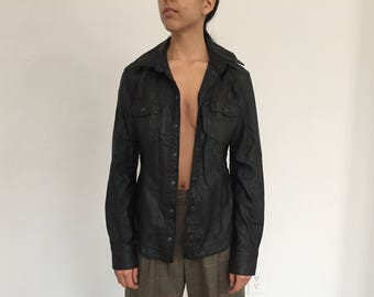 Vintage Free People Faux Leather Black Button Down Shirt