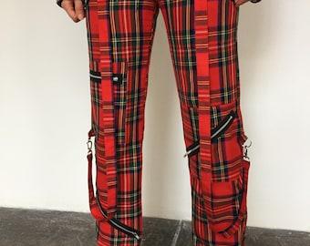 Red plaid punk pants | Etsy