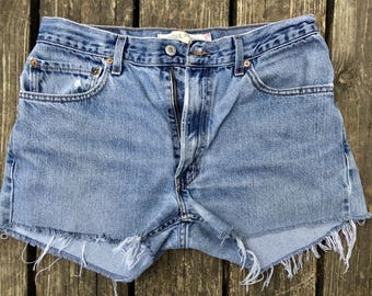 Vintage 505 Levi's, High Waisted Levi's Cutoffs, Red Tab Levi's, Size 33 Waist