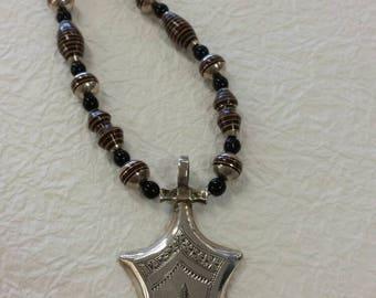 HALF PRICE Tuareg Berber Necklace inlaid ebony handmade in Morocco OOAK