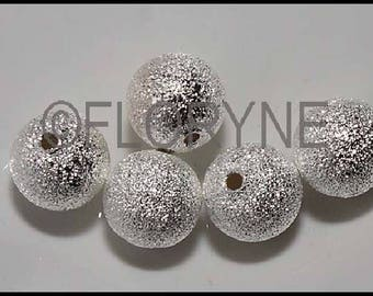5 round beads sparkling 10mm silver Metal