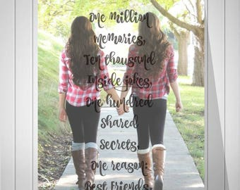 True Friendship Quote Best Friend Birthday Gift Best Friend Gift Print With Your Photo You Choose Size & Type - 48977