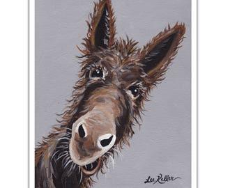 Donkey art, Donkey decor. Donkey print from original canvas painting 'Rufus'. Donkey art prints, donkey art, donkey prints