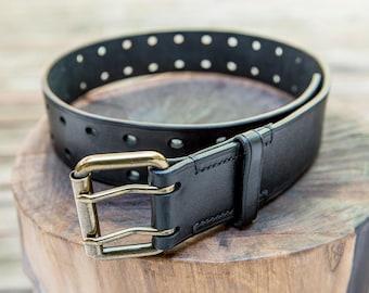 Black Leather Holed Belt