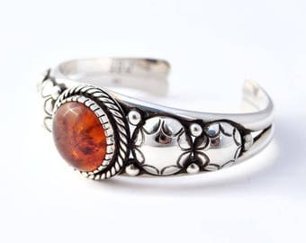 Harvest Moon Baltic Amber and Sterling Silver Cuff Bracelet