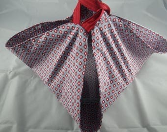 SacT022 - Blue and Red pattern pie bag