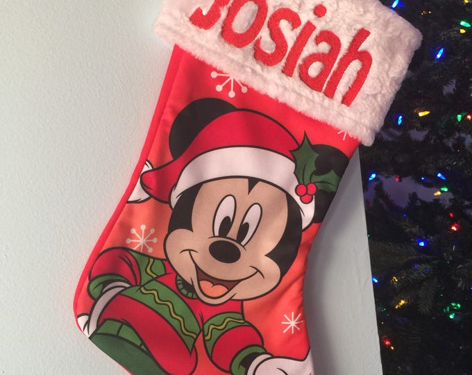 "Mickey Mouse  18"" Jersey Christmas Stocking Plush Cuff - Personalized"
