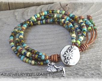 Beaded Leather Wrap Bracelet/ Seed Bead Wrap Bracelet/ Leather And Seed Bead Leather Bracelet/ Boho Wrap Bracelet/ Bohemian Bracelet.