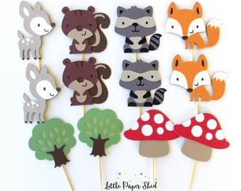 Handmade Cupcake Toppers - Woodland Theme x 12