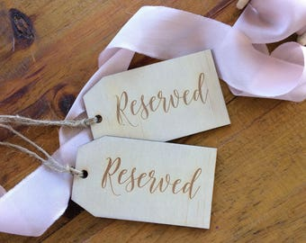 Reserved seating tag. Wooden reserved tag. Set of 2