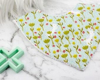 Bandana Bib, Rabbit Bib, Floral Bib, Baby Girl Bib, Bibs and Burping, Baby Gift, Baby Shower Gift, Baby Bib, Dribble Bib