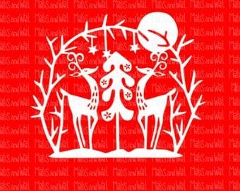 Reindeer and tree retro svg/png/dxf Silhouette/Cricut digital cutting file/reindeer svg/woodland svg/retro svg/deer svg/Christmas/winter/HTV