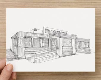 Ink sketch of Hollywood Diner in Baltimore, Maryland