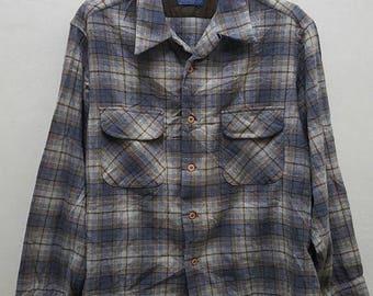 MEGA SALE 20% Vintage rare Pedleton wooded mills pure virgin wool button downs shirt