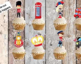 24 x Edible Pre Cut London Theme Stand Up Cupcake Toppers