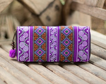 Purple Clutch Wallet for Women, Hmong Hill Tribe Embroidered Women Purse, Pom Pom Purse, Boho Wallet, Gift Wallet - WA301UVPUR