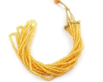 MARCH SALE 5 Strands AAA Quality Yellow Zircon Faceted Rondelles Ready To Wear Necklace - Yellow Zircon Rondelles Beads 3mm 13 Inch Sb2196