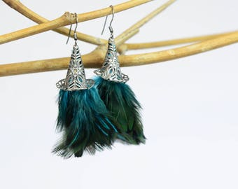 Small Blue Feather Earrings with Intricate Cone