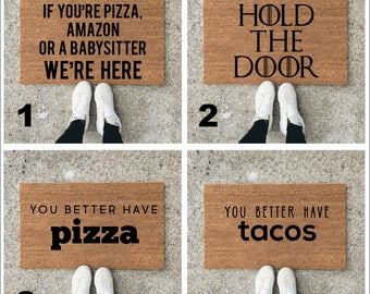 Custom Welcome Mat - Personalized Door Mat - Funny Doormat - Unique Gifts for The Home - Pizza Gifts - Housewarming gift