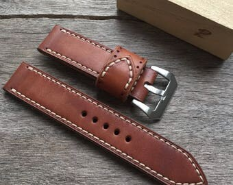Handmade genuine leather strap 24mm.