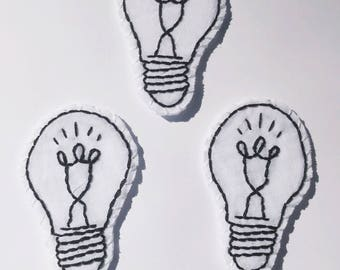 hand embroidered lightbulb patch