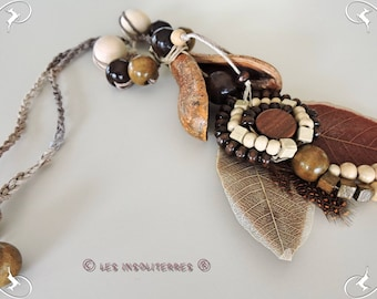 eco-friendly necklace with natural seeds beads fall leaves wood authentic cord braided linen