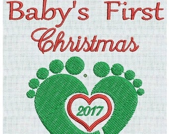 50 percent OFF Baby's First Christmas, Baby Feet, Heart,  2017, Baby Designs Holiday  2 sizes Pes Format Instant Download