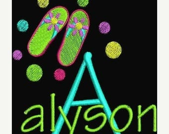 50 percent OFF Machine Embroidery Designs Fonts Designs Flip Flops Polka Dots Alphabet INSTANT DOWNLOAD Pes only