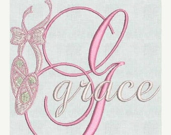 50 percent OFF INSTANT Download Ballet  Slippers Ballerina Machine Embroidery Designs Fancy Font Alphabet Monogram  PES format