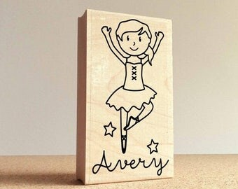 BACK TO SCHOOL Sale Personalized Ballerina Rubber Stamp for Children, Custom Ballet Stamp - Choose Hairstyle and Accessories