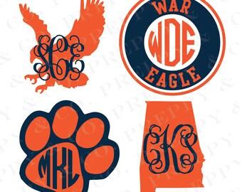 Auburn Vinyl Decal - Monogram Auburn Tigers Sticker - Auburn University