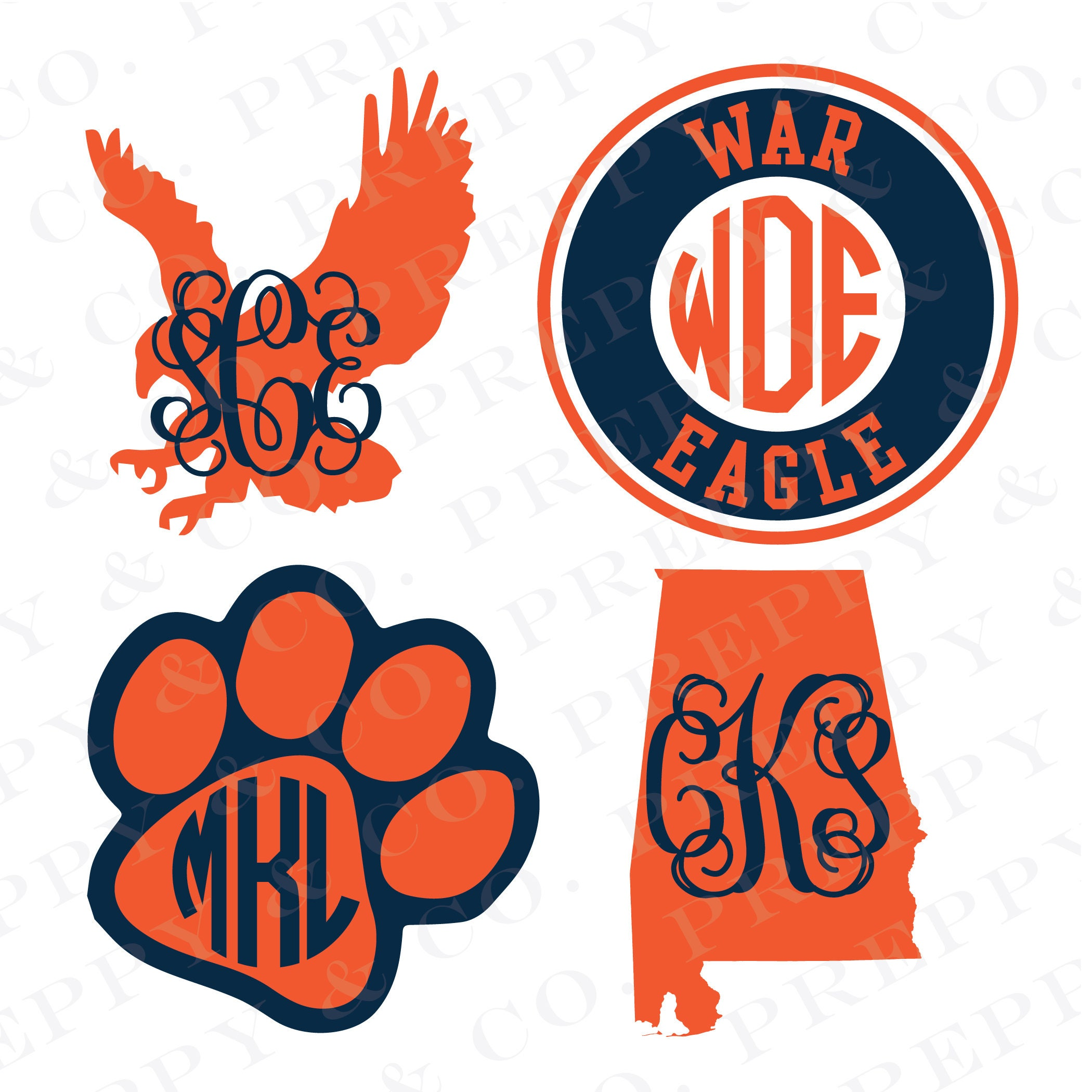Auburn War Eagle Clip Art >> Auburn Vinyl Decal Monogram Auburn Tigers Sticker Auburn
