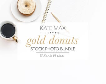 Gold Donuts Stock Photo Bundle / Styled Stock Photos / 17 KateMaxStock Lifestyle Branding Images for Your Business