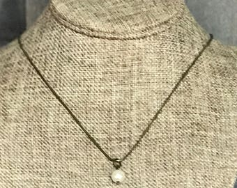 Single Pearl Necklace, Bronze Necklace, Laser Engraved, Customized Jewelry, Bursting Barns Designs