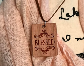 Blessed Necklace, Laser Engraved Cherry Wood, Group Gift Ideas, Group Discounts, Wedding Gifts, Laser Engraved, Bursting Barns Designs