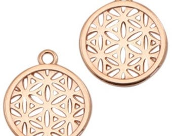 """DQ Metal pendant, charm """"floral pattern""""-1 piece-Zamak-color selectable (color: Gold)"""