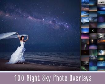 100 Night sky overlay, add starry sky to photo, moon overlays, stars texture photoshop, milky way, night effect, action, background