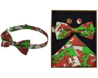 Welsh Flag Bow Tie & Boxed Gift Set