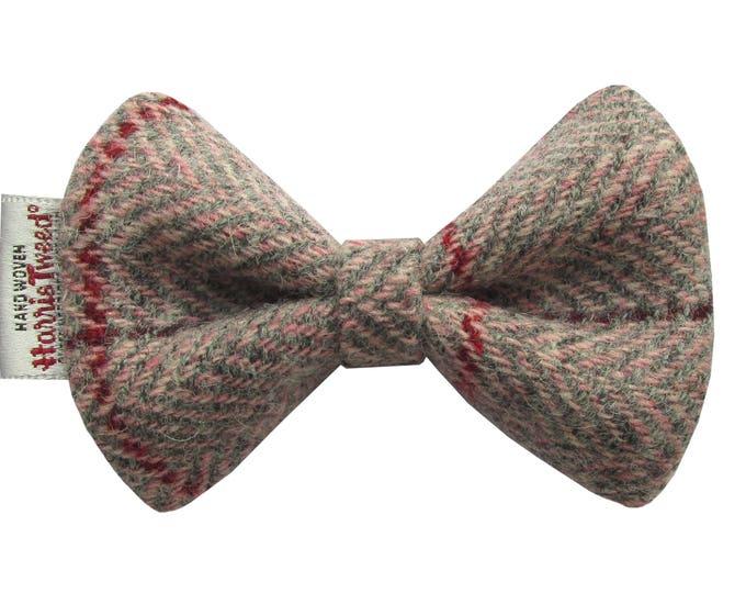 Harris Tweed Pink & Grey Herringbone Designer Dog Bow Tie
