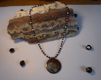 Ammonite fossil  pendant with brown obsidian and mother of pearl beads
