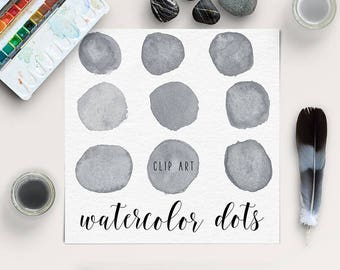 Mid Gray Watercolor Dots Clipart, Watercolor Circles Clipart, Watercolor Splotches, Hand Painted Clipart, Scrapbooking Bubbles, BUY5FOR8