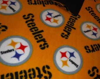 "54"" x 68"" 2 Sided Fleece Blanket Steelers With Black Backing And An 18"" x 18"" Matching Pillow"